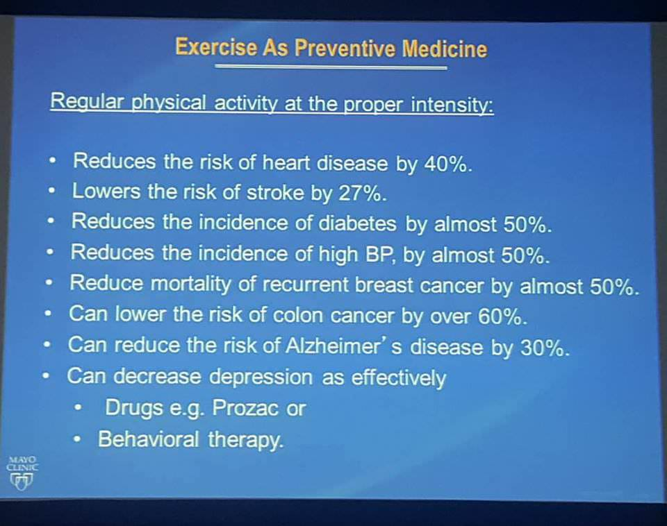 Exercise as preventative medicine from Mayo Clinic